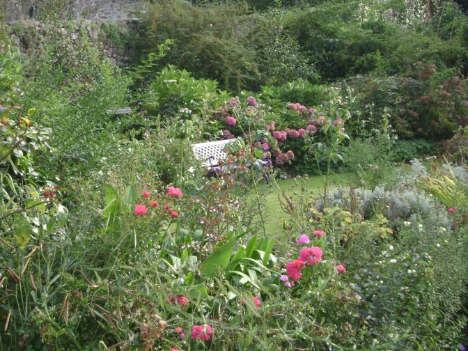 Blooming Seaside Cottage Garden in Brittany, France