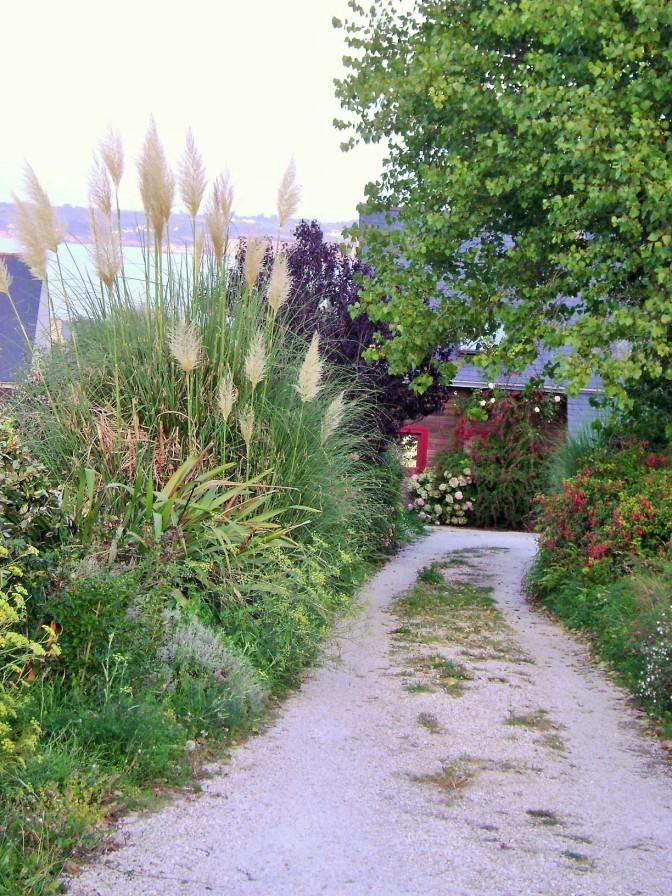 A Long and Narrow Front Garden Framing an Alley