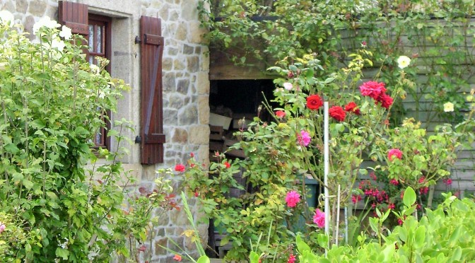 French Stone Cottage with Roses