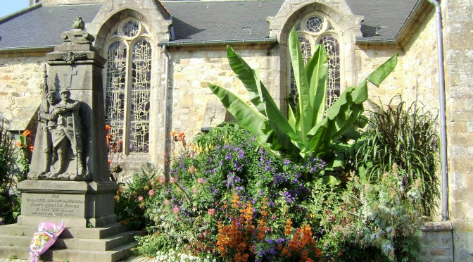 Flowered Garden at the Old Stone Church in Crozon, France