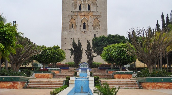 The Hassan Tower Gardens in Rabat, Morocco